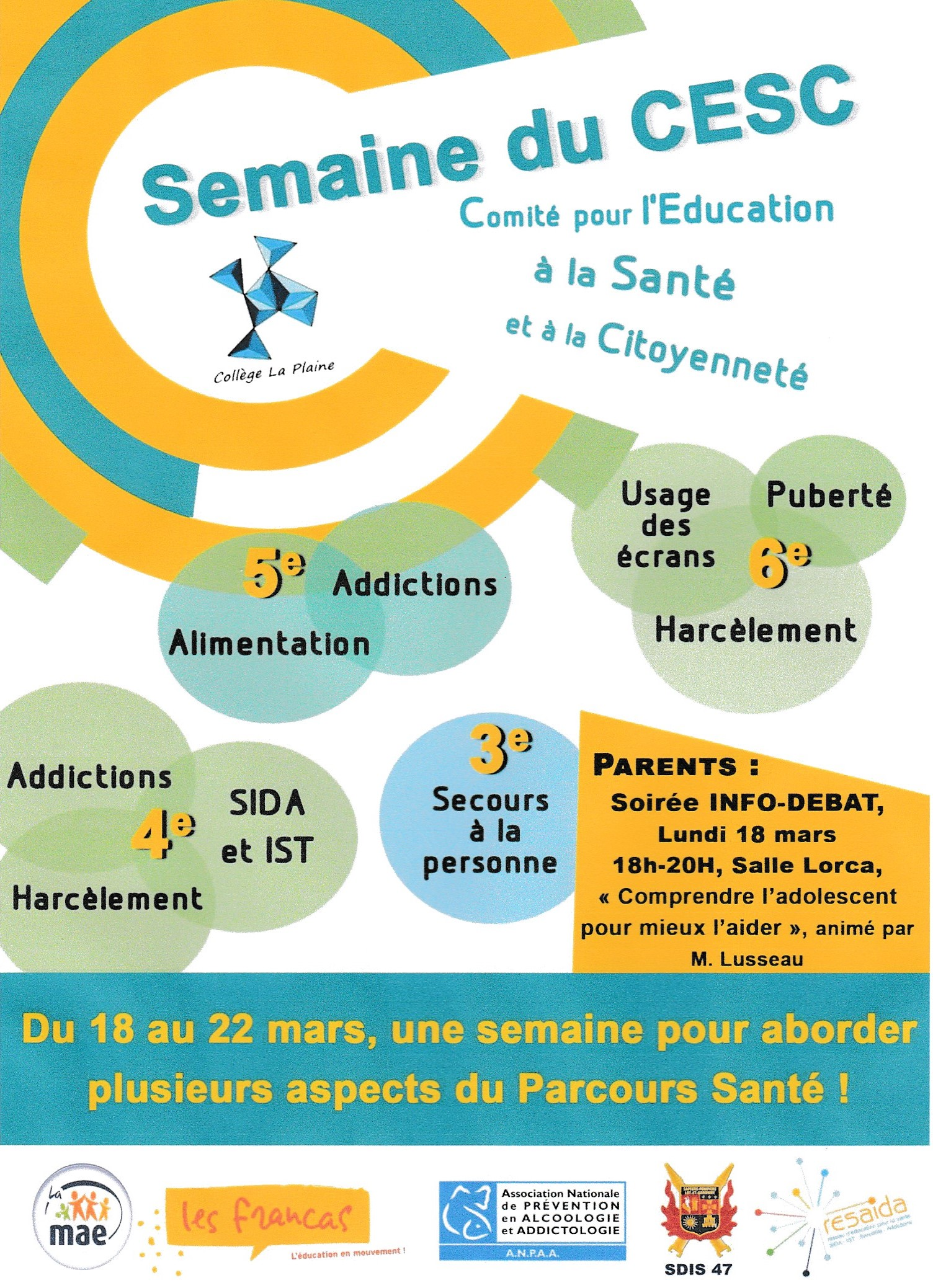 Affiche Conférence Adolescence - Coll. LAVARDAC - Mars 2019
